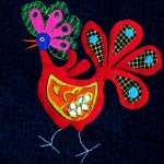 Bird with eggs (machine embroidered and quilted)