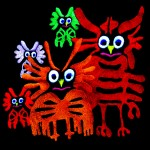 Owl family (machine embroidered and quilted)