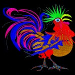 Rooster (machine embroidered and quilted)