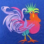 Rooster (machine embroidered and quilted).
