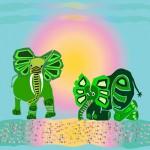Green elephants in sunrise by river