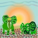 Green elephants in sunrise in flowers