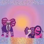 Elephants in sunrise   Giclee'