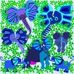 Elephants in flowers