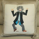 Embroidered conductor on pillow