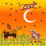 The cow jumped over the moon, gr/oran  Giclee'