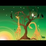 Giraffes feeding at dawn green