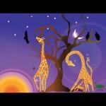 Giraffes feeding at dawn navy/purple