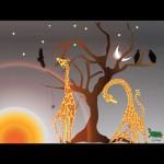 Giraffes feeding at dawn grey