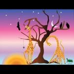 Giraffes feeding at dawn blue,pink