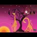 Giraffes feeding at sunrise cerese