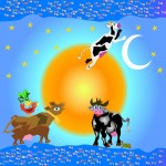 The cow jumped over the moon, blu/river  Giclee'